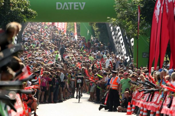 ROTH, GERMANY - JULY 14: Crowds congregate on Solar Hill on the bike stage during the Challenge Roth Triathlon on July 14, 2013 in Roth, Germany. (Photo by Stephen Pond/Getty Images)